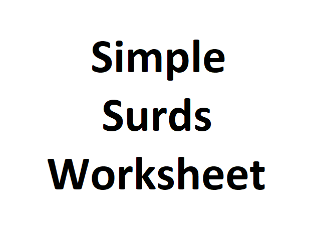 Simple Surds worksheet with answers