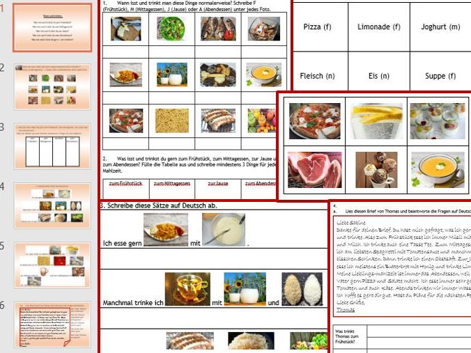 Food and Drink - German: 6-page wkbk, 9-slides PPP, 42 cue cards, vocab