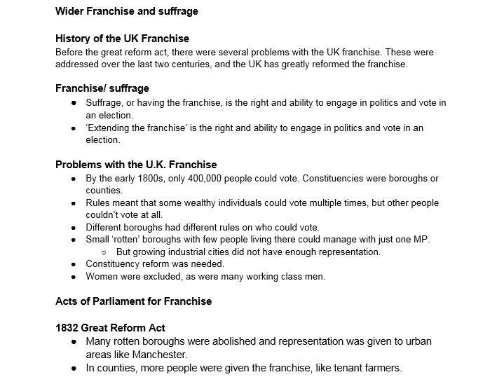 A level Politics : Wider Franchise and Suffrage
