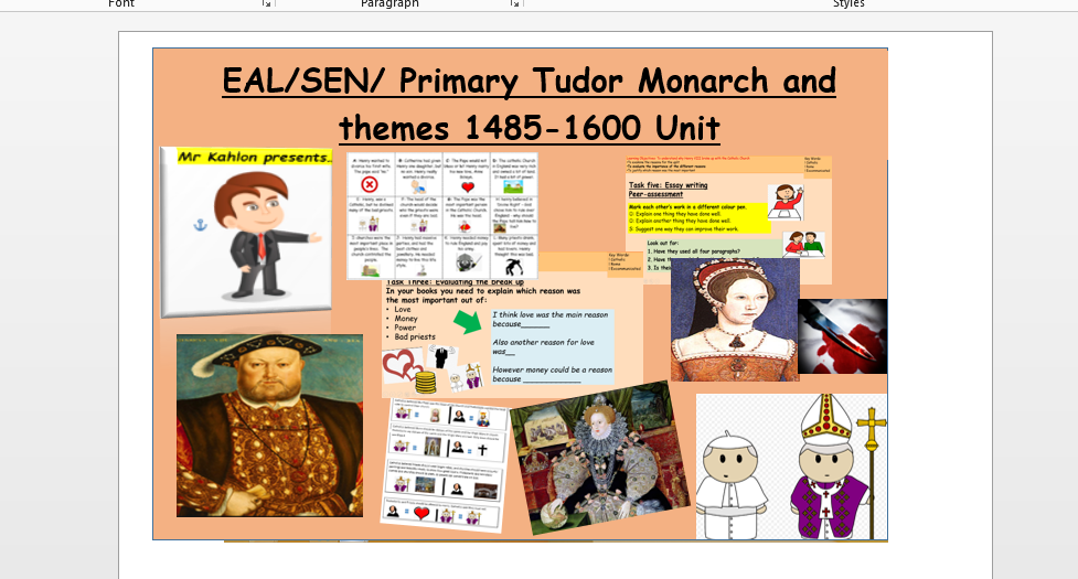 EAL/SEN/ Primary Tudor Monarch and themes 1485-1600 Unit
