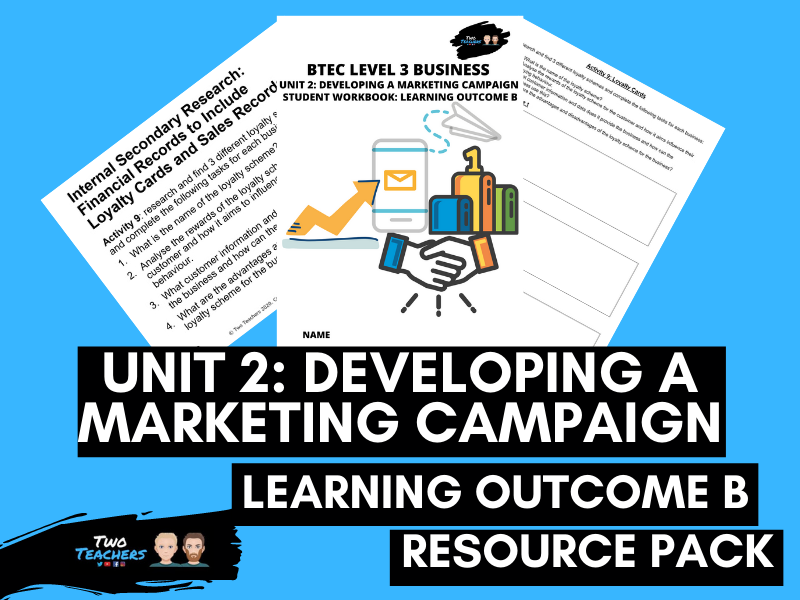 BTEC Business Unit 2: Developing a Marketing Campaign Learning Aim B | PowerPoint & Student Workbook