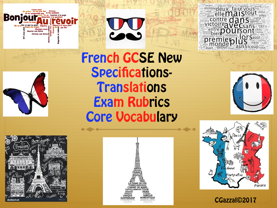 French GCSE - Translations, Exam Rubrics, Core Vocabulary.