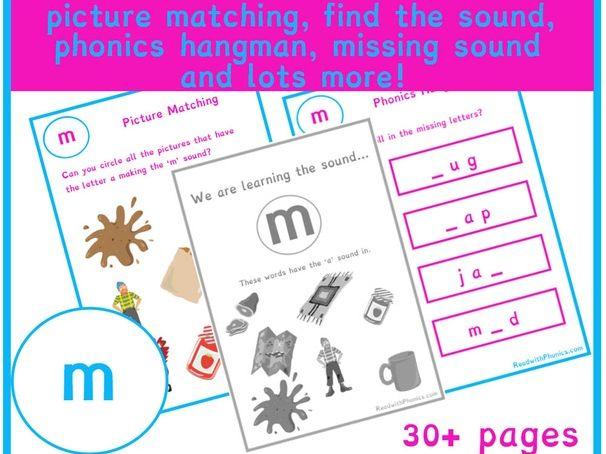 'm' Sound Phonics Bundle 36 Pages | Phonics Resources | Phonics Worksheets | CVC Words | EYFS