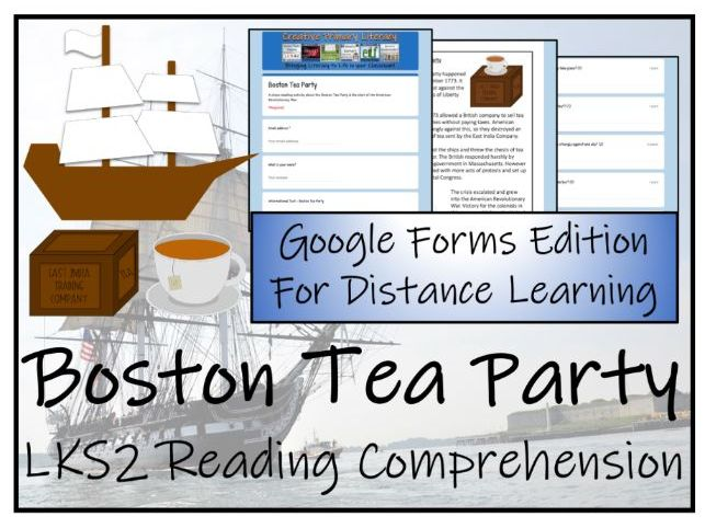 LKS2 BostonTea Party Reading Comprehension & Distance Learning Activity