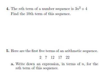 Sequences (generating sequences and finding the nth term) worksheet (with solutions)