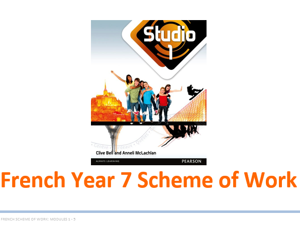 Year 7 French Scheme of Work (Whole year and  detailed - based on Studio 1)