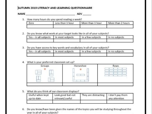 NEW Literacy and learning questionnaire