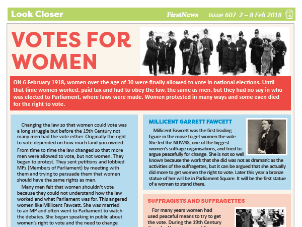 KS2 News Comprehension: Suffragettes and the vote for women