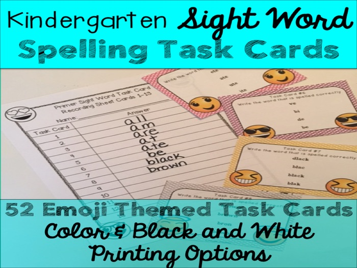 Kindergarten Primer Sight Word Spelling Emoji Task Cards