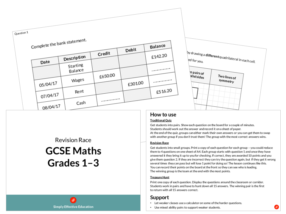 GCSE Maths Revision Race (Grades 1-3)
