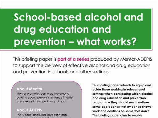 School-based alcohol and drug education and prevention – what works?