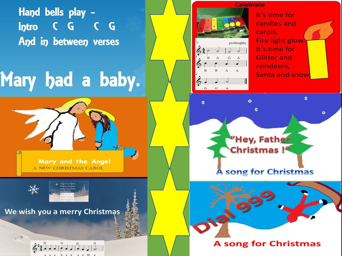 Songs and carols for Christmas. Easy child friendly accompaniments.