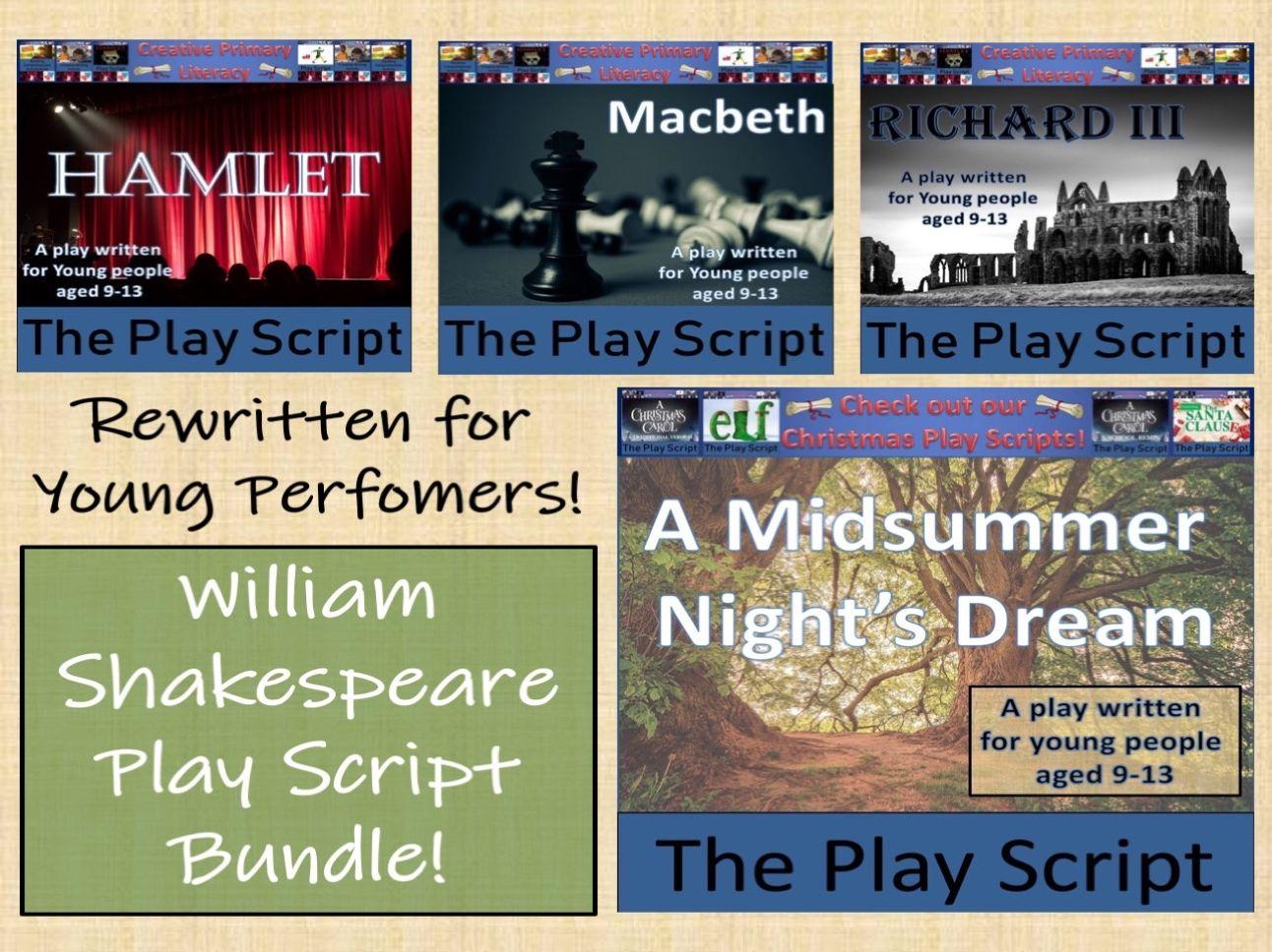 KS2 / KS3 Drama - Bundle of Four Shakespeare Play Scripts