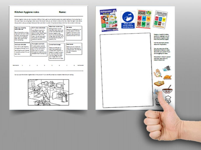 Food cover work / cover lesson - Kitchen hygiene - 1hr activity