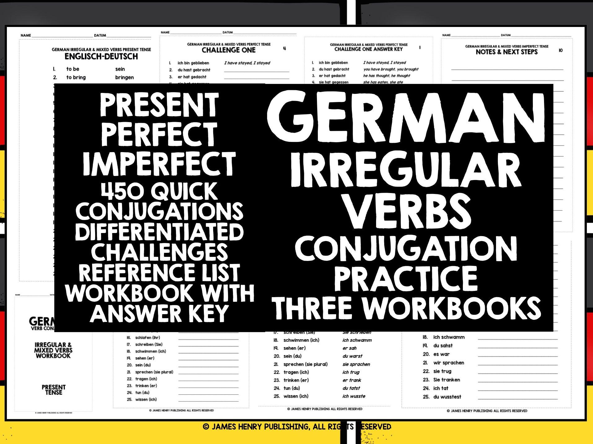 GERMAN IRREGULAR VERBS CONJUGATION THREE TENSES