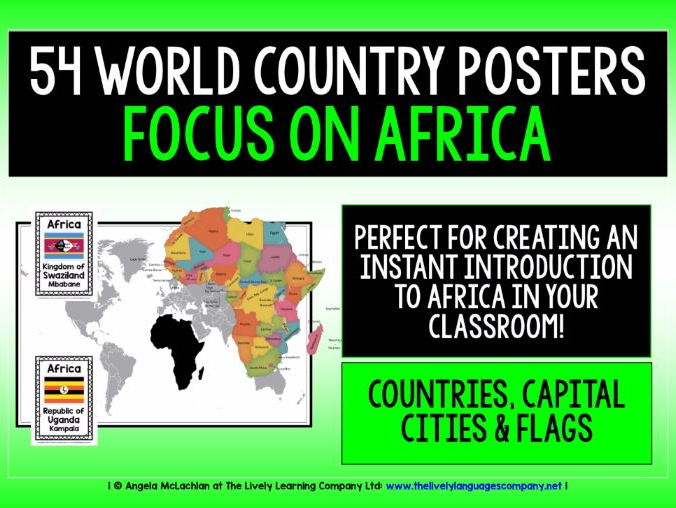 GEOGRAPHY AFRICA COUNTRIES, CAPITALS, FLAGS 54 DISPLAY POSTERS