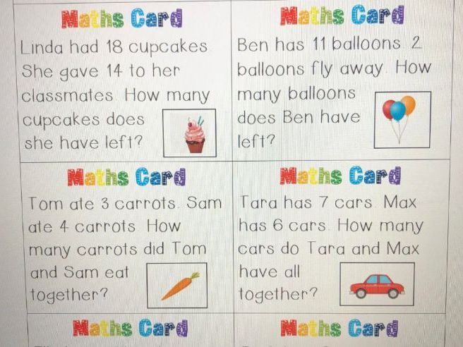 32 Maths Word Problem Cards (up to 20)