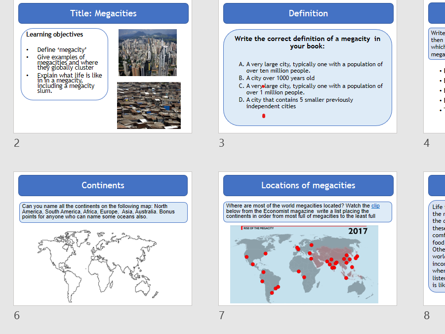 Megacities - Geography Entry Level Topic 1 -Our World  - OCR R407
