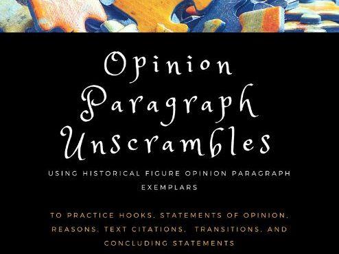 Opinion Paragraph Unscrambles