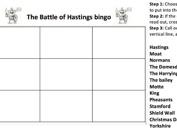 Battle of Hastings BINGO