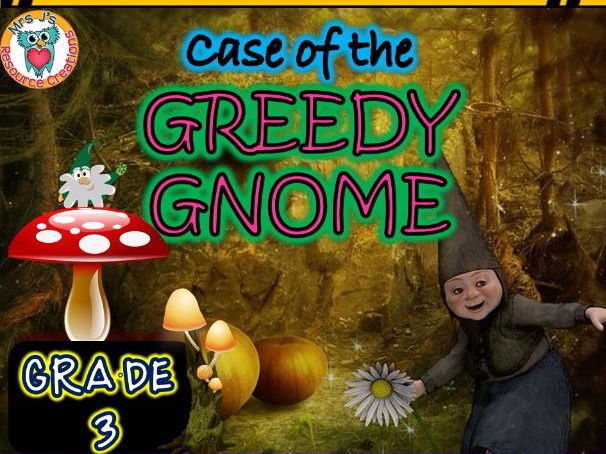 Graphs Math Mystery (GRADE 3): Case of The Greedy Gnome