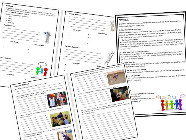 GCSE PE - Guidance Practical Lesson  - Instructions- Task Cards - Worksheets - Questions