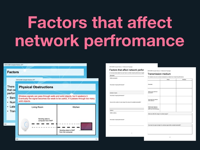 J277 GCSE Computer Science 1.3.1 Factors that affect network performance - Lesson