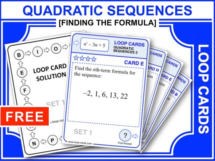 Quadratic Sequences 2 (Loop Cards)