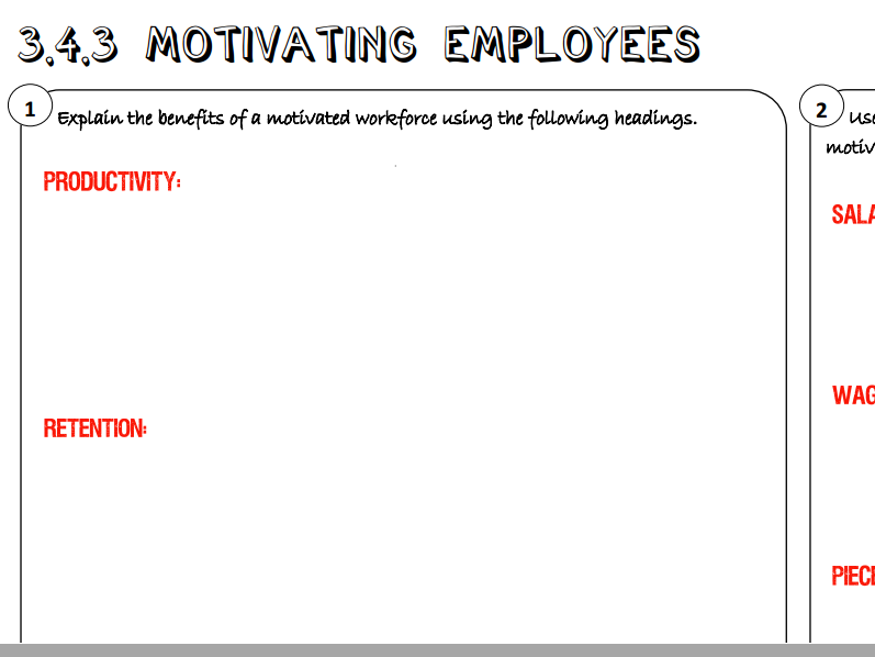 AQA GCSE Business (9-1) 3.4.3 Motivating Employees Learning Mat / Revision