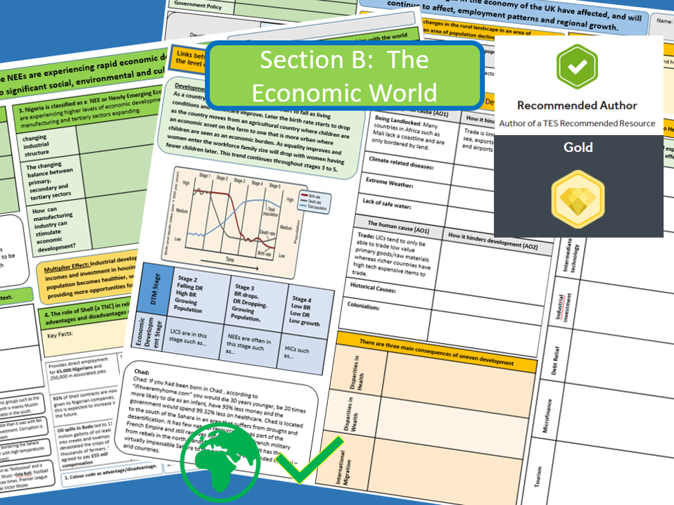 Geography : A3 Revision Sheets Economic World Bundle. AQA 9-1