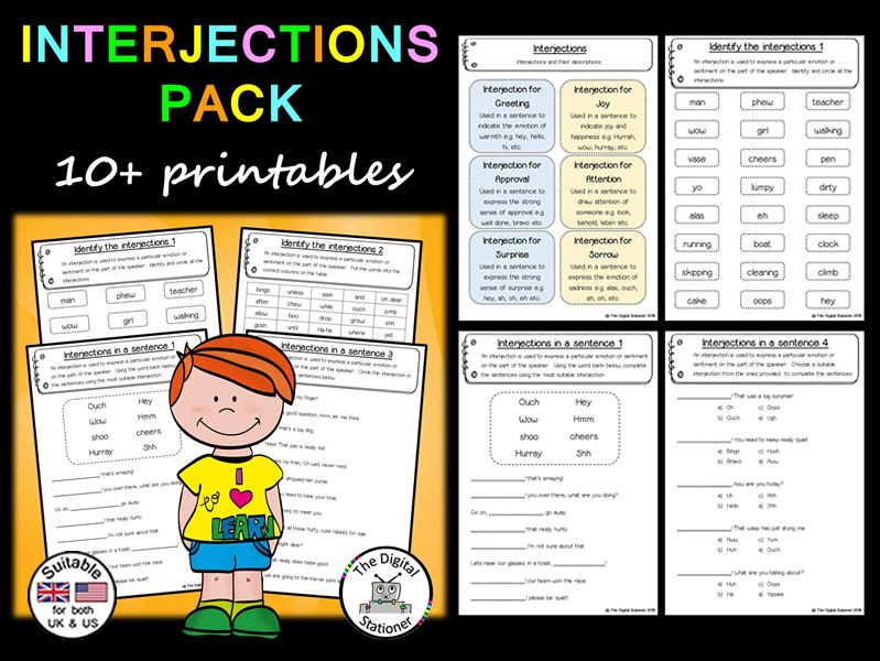 Interjection Pack (Parts of Speech) – 10+ printables