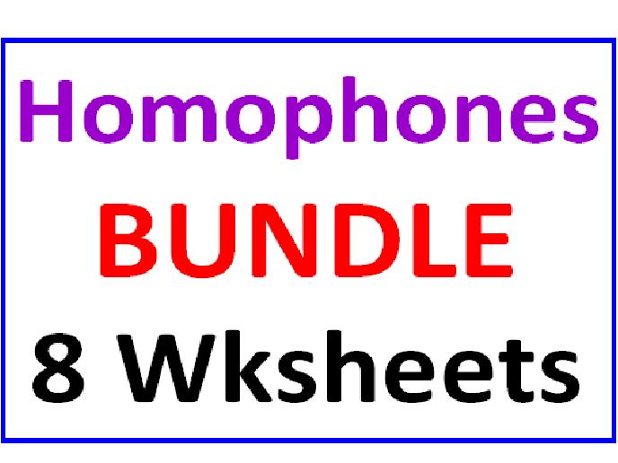 Homophones BUNDLE 8 Worksheets