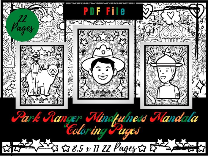 Park Ranger Mindfulness Mandala Colouring Pages, Park Warden Printable PDF