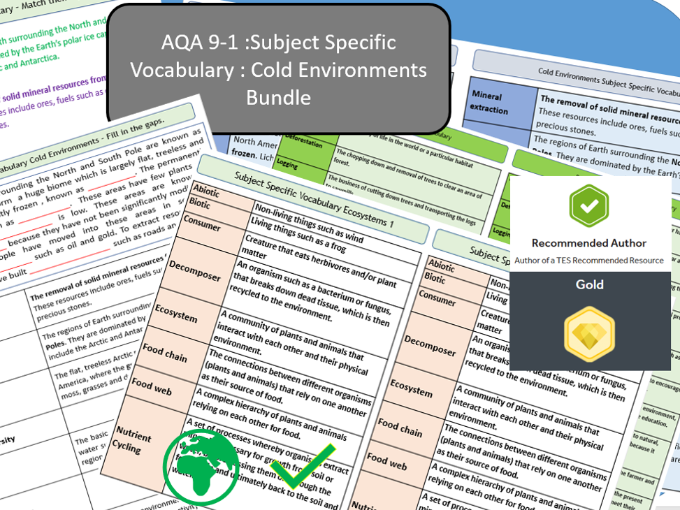 AQA 9-1 - Ecosystems, Cold Environments Option Bundle, Key Vocabulary Literacy Activity Sheets.