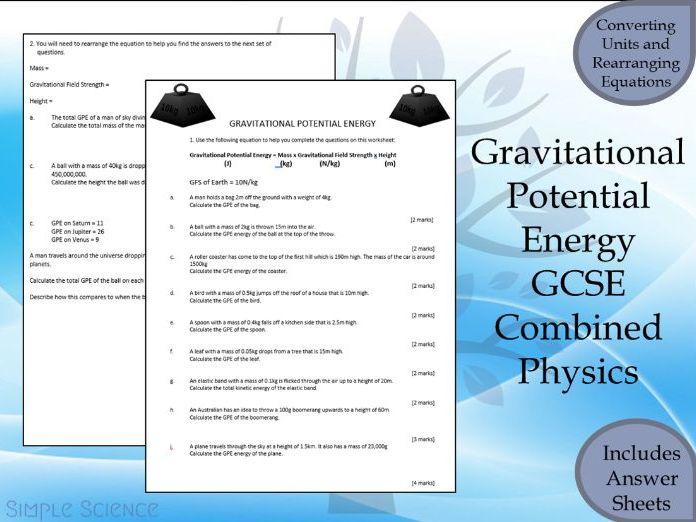 GCSE Physics Paper 1 -  Gravitational Potential Energy Calculation Worksheet
