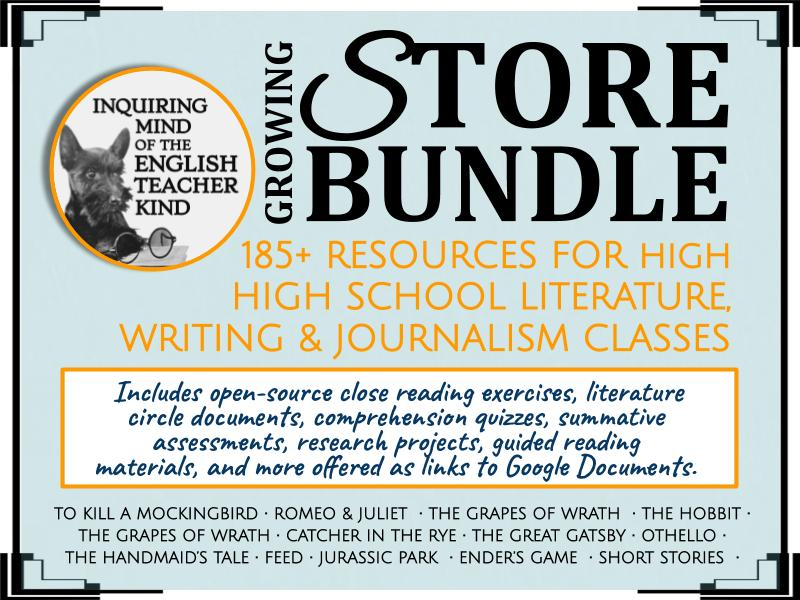 185+ High School English Assessments - Growing Store Bundle