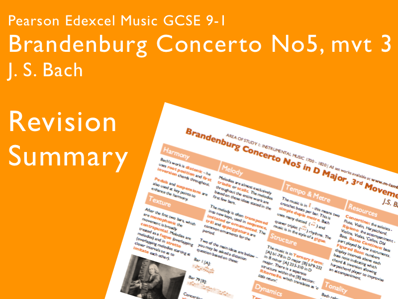 Bach - Brandenburg Concerto 5, mvt 3 | Edexcel Pearson GCSE Music 9-1 | Revision Summary