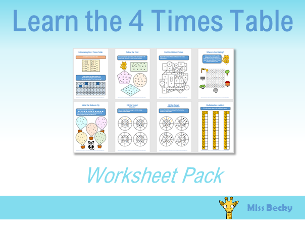 4 Times Table Worksheet Pack