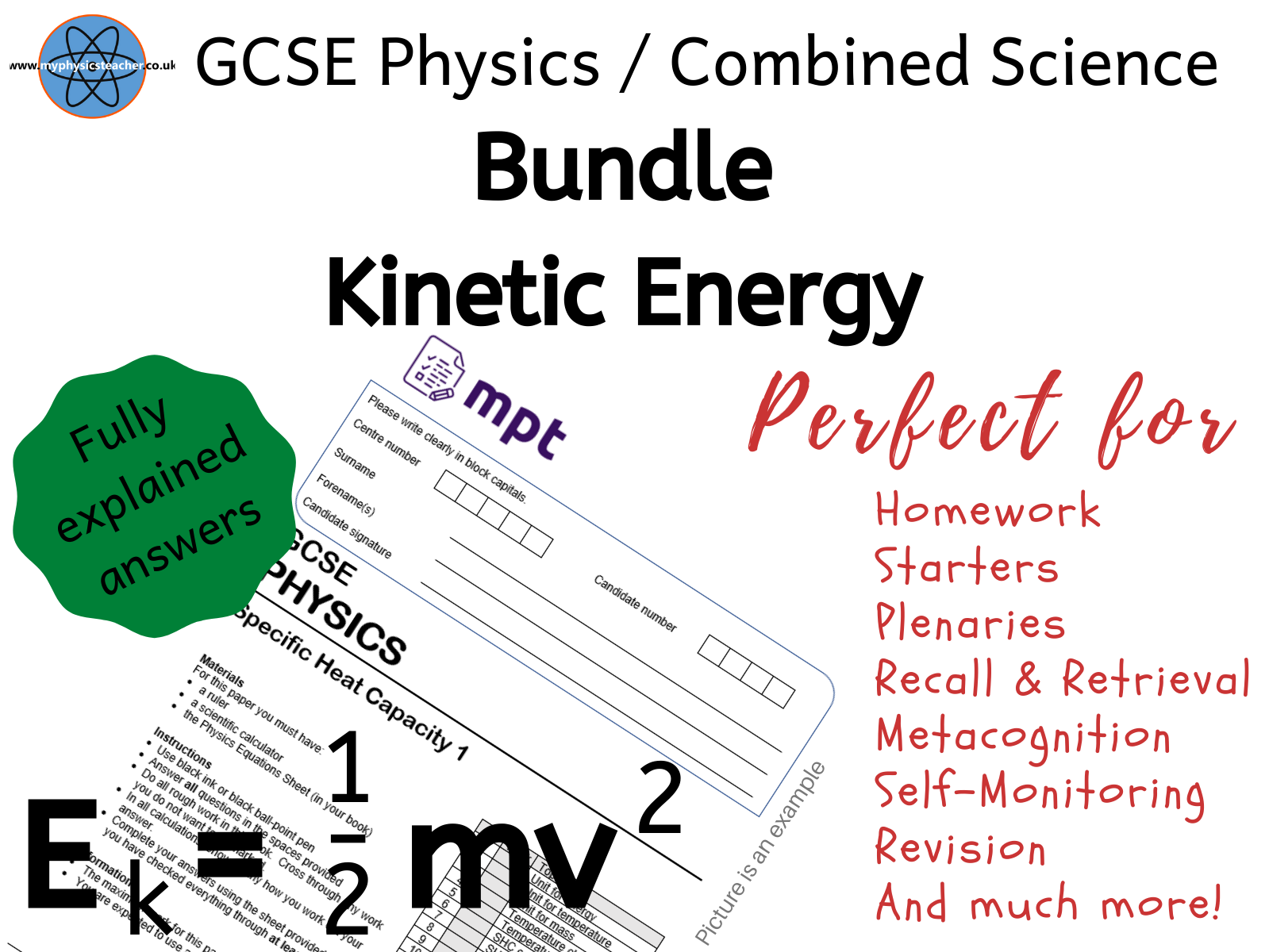 Kinetic Energy GCSE Bundle - scaffolded worksheet and multiple choice exam style questions with fully explained answers