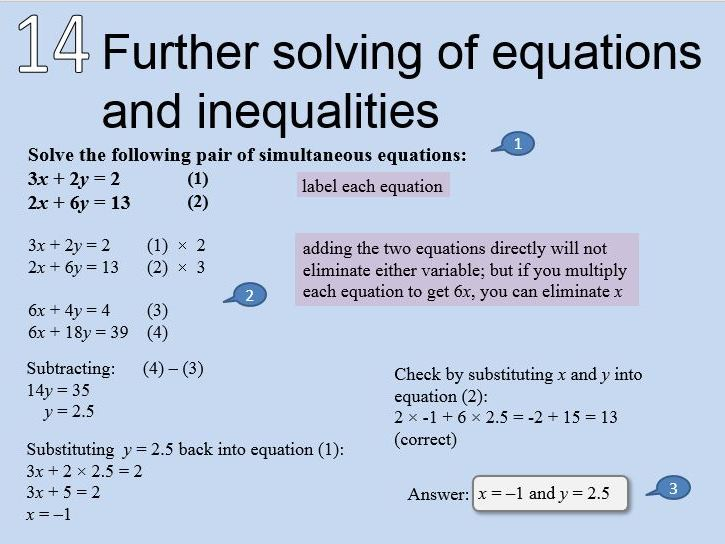 Math - Further solving of equations   and inequalities