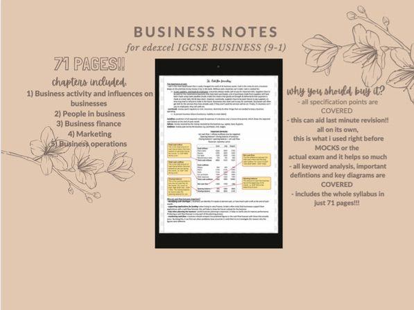 Business Studies - Edexcel International GCSE Level Revision Notes