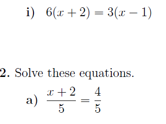 Linear equations with brackets or fractions worksheets