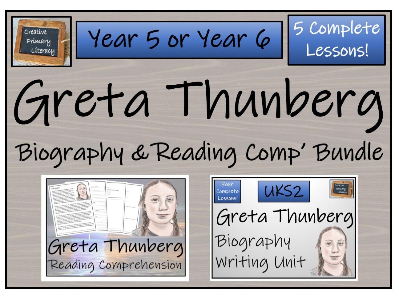 UKS2 Literacy - Greta Thunberg Reading Comprehension & Biography Bundle