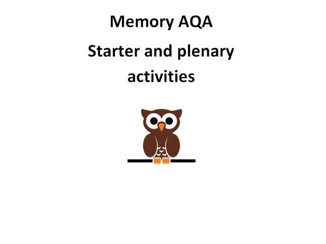 AQA Psychology Memory Starters and plenaries activities