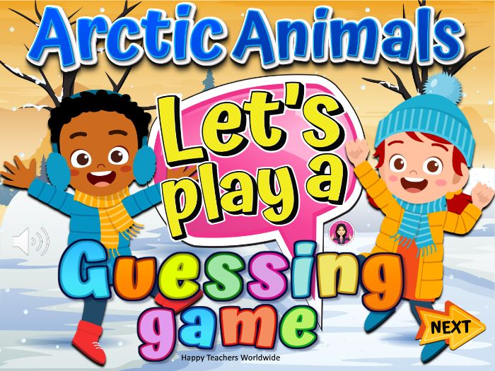 Arctic Animals Guessing game and Fun facts Winter Powerpoint game