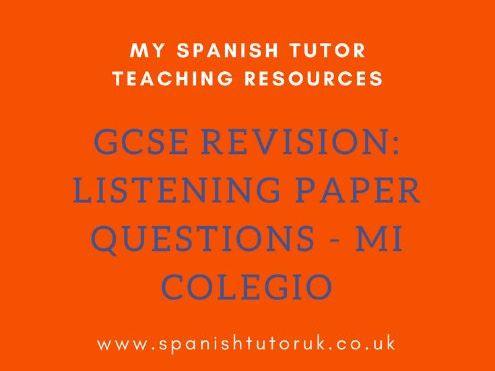 GCSE Past Paper Listening Questions Higher - Mi colegio
