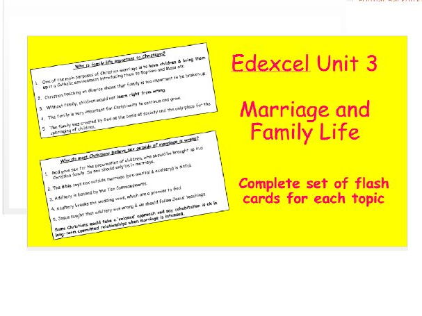 Edexcel Christianity Unit 3 Marriage and Family Life Flash Cards