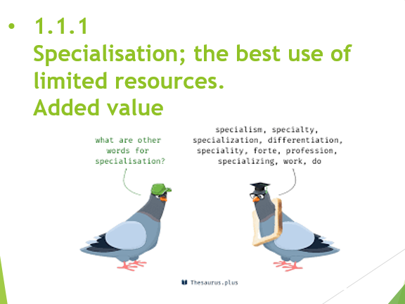 iGCSE 1.1.1 Business Activity - Specialisation and Added Value