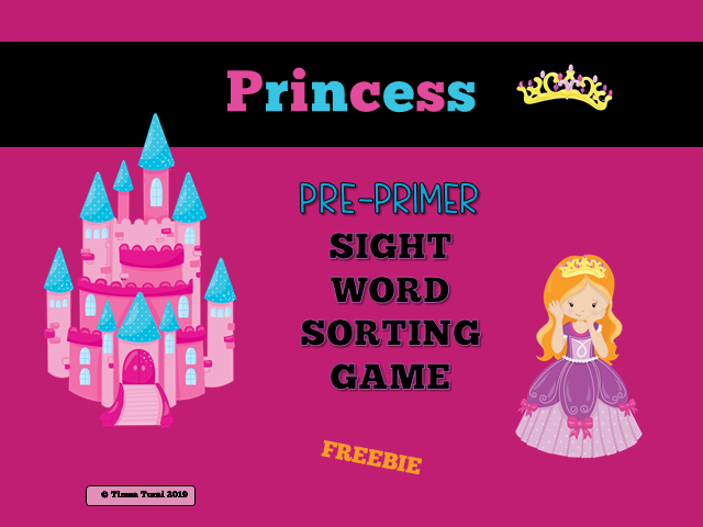 Pre-Primer Sorting Game -- Princess Theme