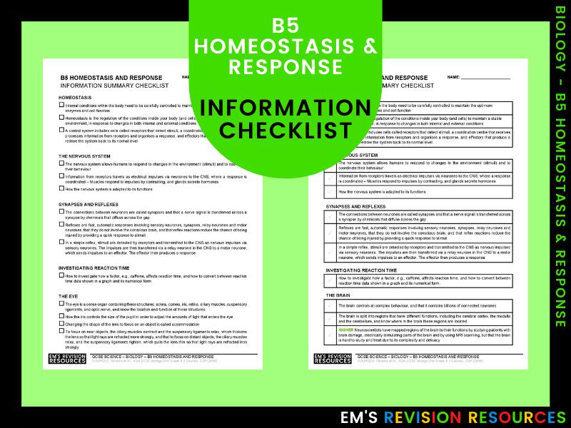 B5 Homeostasis & Response [Information Checklist]